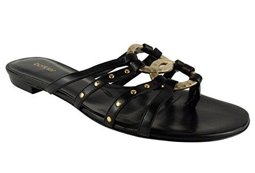 Botkier Ginger Femmes Diapositives Sandales Plates Chaussures Noir