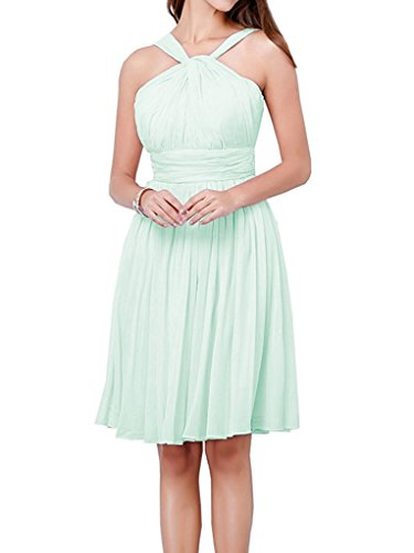 Country Halter Gown Mint Short Beach Dress Chiffon Dressyu Bridesmaid A line Party FqapwO