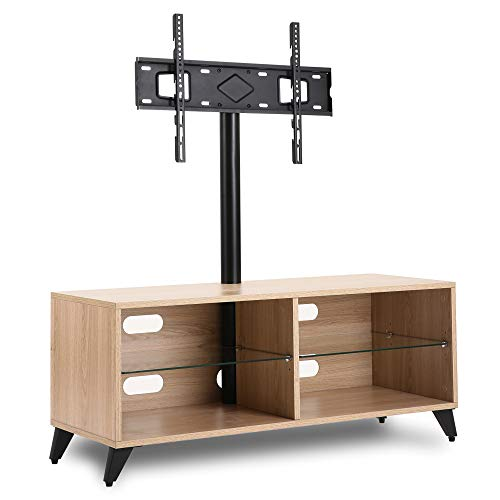 Rfiver Wood Entertainment Center Floor Swivel TV Stand for 32 to 65 Inch LED, LCD, OLED Plasma Flat/Curved Screen TVs, Height Adjustable Media Console Storage Cabinet for DVD players, Xbox, Oak Finish
