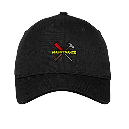 Speedy Pros Maintenance Tools Logo Embroidery Unisex Adult Flat Solid Buckle Cotton 6 Panel Low Profile Hat Cap - Black, One Size