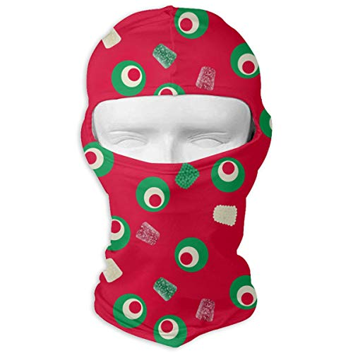 Windproof Balaclava, Christmas Gumdrops Red Green Porch for Bike Hiking