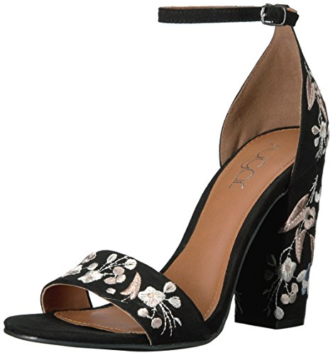 Heels Embroidered - Sugar Women's Silck Flower Floral Embroidered Block High Heel Sandal, Black Faux Suede,  8 M US