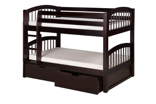 Camaflexi Arch Spindle Style Solid Wood Low Bunk Bed with Drawers, Twin-Over-Twin, Side Attached Ladder, (Low Spindle)
