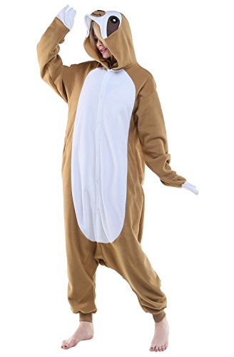 NEWCOSPLAY Unisex Adult One- Piece Cosplay Animal Pajamas Halloween Costume (XL, Sloth) ()