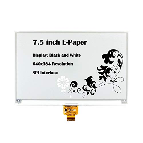 CQRobot 7.5 inch E-Paper Bare Screen Display in Black and White, DIY Open Source Electronic E-Ink Display, 640×384 Resolution, SPI Interface, Smart Watch, Shelf Label, Portable Device Displays.
