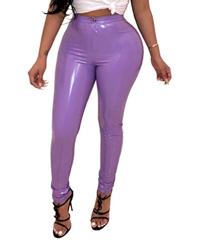 Doris Apparel Latex Pants for Women Sexy Hight Waist PU Leather Lined Legging Trousers Violet -