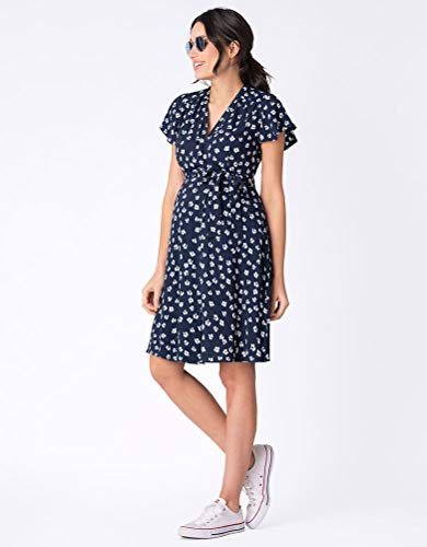 Seraphine Womens Casual Wrap Maternity Dress in Navy Floral 2