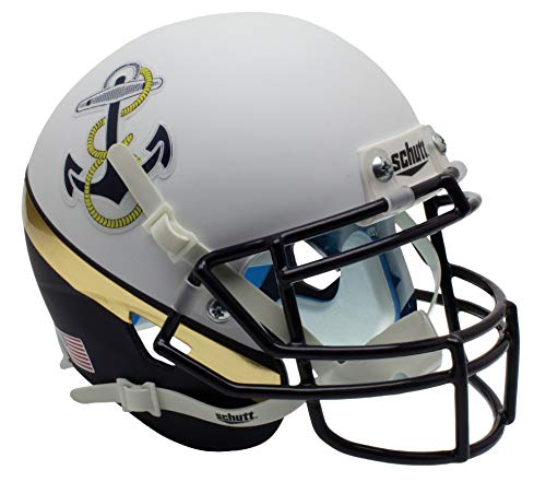 Schutt NCAA Navy Midshipmen Mini Authentic XP Football Helmet, White/Navy Alt. 2