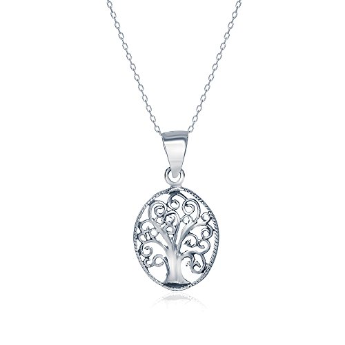 Sterling Silver Oval Open Cut Tree of Life Necklace Pendant, 21mm (Homemade Halloween Costumes For Men)