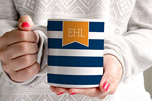 PMIHWH0023 Personalized Coffee Mug Stripes With Monogram Banner