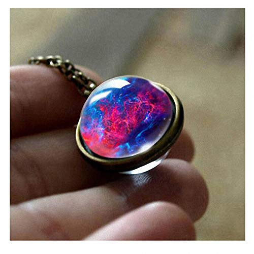 Womens Pendant Necklaces New Nebula Galaxy Double Sided Pendant Outer Space Necklace Universe Silver Jewelry Glass Art Picture Handmade Necklace 3