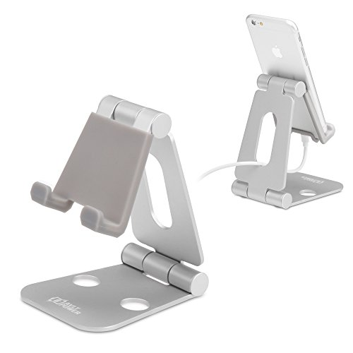 Price comparison product image Aluminum Phone Stand, AVLT-Power Dual Foldable Phone and Tablet Holder- Portable | Foldable | Adjustable | Aluminum Stand for Nintendo Switch, iPhone 7 6 Plus 5 5c, iPad, Other Tablets & Phones