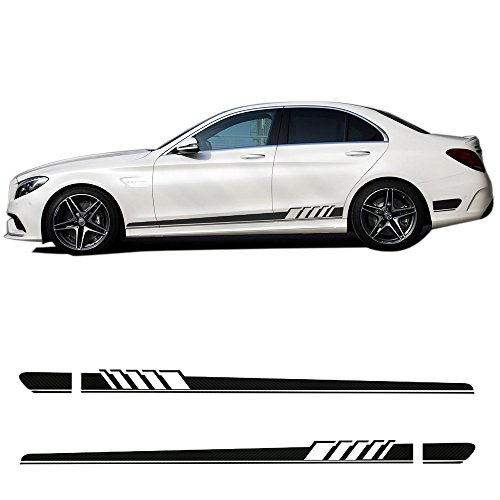 5D Carbon Firbre/Gloss/Matte Black 2pcs - AMG Edition C63 Edition 1 Side Stripe Decals Stickers for Mercedes Benz C Class W205 C180 C200 C230 C280 C300 C320 C350 C63 AMG (5D Carbon Fibre) (Amg C63)