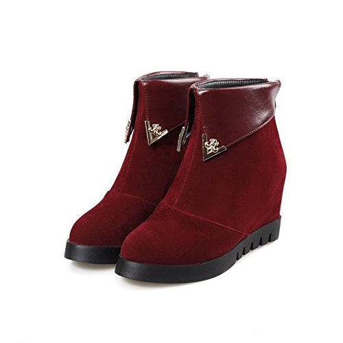 AllhqFashion Womens Frosted Round Closed Toe Solid Low Top High Heels Boots Red 2rYQiXUc