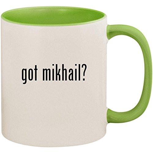 got mikhail? - 11oz Ceramic Colored Inside and Handle Coffee Mug Cup, Light Green (Mikhail Shishkin The Light And The Dark)