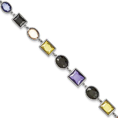 Argent Sterling CZ Bracelet Multicolore 7,5 cm-JewelryWeb pince de homard