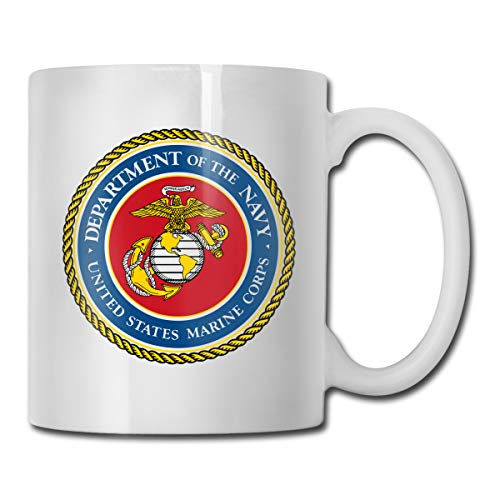 Funny Personalized Coffee Mugs, United States Marine Corps Seal Ceramic Custom Cups 11 Oz, Best Dad & Mom Birthday Gifts Cool Mug For Tea Hot & Cold - Personalized United States Marine