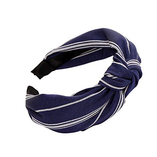 JIUDASG Fashion Bow Knot Hairband Women Hair Hoop Simple Sweet Girl Headband Navy -
