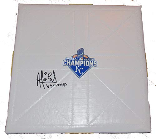 Alcides Escobar Autographed Kansas City Royals Full Size Schutt Base W/PROOF, Picture of Alcides Signing For Us, Kansas City Royals, World Series Champion, Milwaukee Brewers, Gold Glove, All - Glove Royals Gold Kansas City