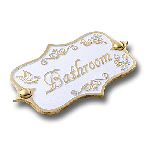Bathroom Brass Door Sign. Vintage Shabby Chic Style