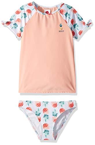 (Roxy Big Girls' Kind of Fun Short Sleeve Lycra Swim Set, Bright White Sample Small Pineapple, 14/XL )