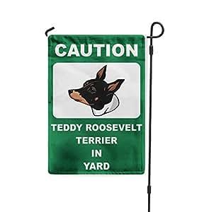 Precaución Teddy Roosevelt Terrier perro en patio Patio Patio Casa Banner bandera de Jardín