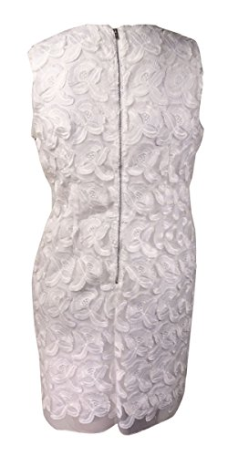 Calvin Embroidered White Klein 14 Women's Organza Sheath Applique SP6SErHqw