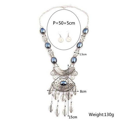 GERGER BO Mother's Day Leaves Pendant Metal Multicolor Horse Eyes Necklace Earring Set(Grey) (Major Egyptian Gods)
