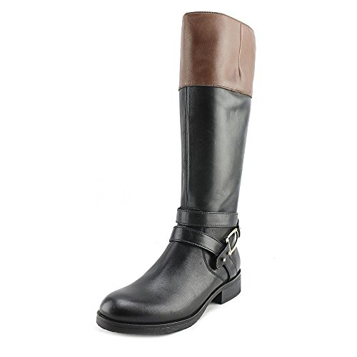 Bandolino Tess Round Toe Leather Mid Calf Boot Black/Cognac Leather 3a1eSzqa