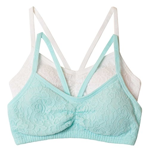 e059f491249 Fruit of the Loom Girls  Big Lace Crop Top Bra 2 Pack