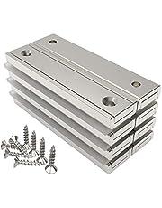Magnetpro 8 stuks rechthoekige magneten 30 kg kracht 60 x 13,5 x 5 mm met verzonken gat en capsule, huishoudelijke en industriële potmagneet met schroeven