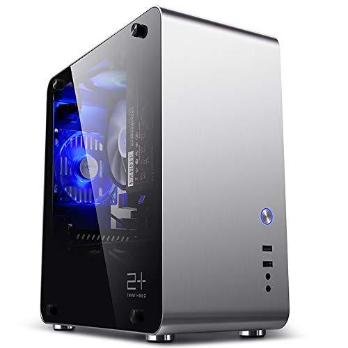 GOLDEN FIELD M3S MATX/ITX Mini Computer PC Case with Tempered Glass Side Windows Aluminium Silver