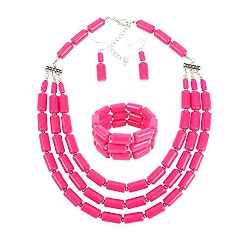 Lanue Fashion Handmade Bead Multilayer Statement Necklace Bracelet Earrings Jewelry Set (Rose red)
