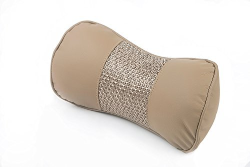 Breathable Mesh Leather Car Neck Headrest Pillow Cervical Auto Seat Cushion Supports For Long Driving, Travel Pillow Beige