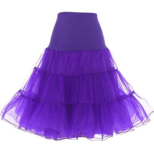 Dresstells® Mujeres Cancan 50s Retro Rockabilly Enaguas Miriñaques Faldas Morado