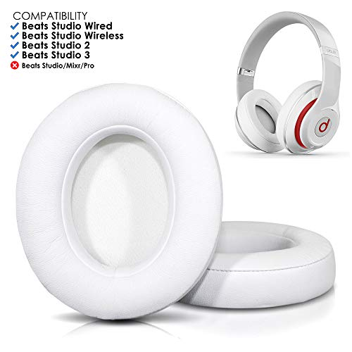 (Upgraded Beats Replacement Ear Pads by Wicked Cushions - Compatible with Studio Wired B0500 / Wireless B0501 / Studio 2 and Studio 3 Over Ear Headphones ONLY (Does NOT FIT Beats Solo) | White)
