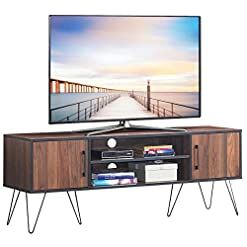 "Living Room Tangkula Retro TV Stand for 60"" TV, Modern Entertainment Center for Flat Screen TV Cable Box Gaming Consoles, Media… modern tv stands"