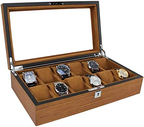 J.Mmiyi Madera Caja de Reloj Caja de Almacenamiento con Tapa de Vidrio Compartimentos para Relojes Soporte de Exhibición, Cumpleaños Regalo,C: Amazon.es: Hogar