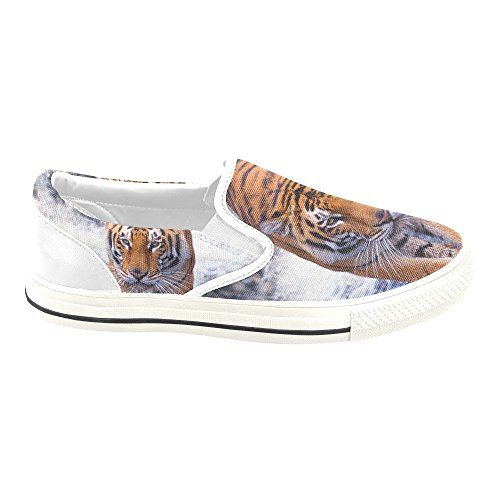 D-story Custom Sneaker Cool Tiger Mujeres Inusual Slip-on Zapatillas De Lona
