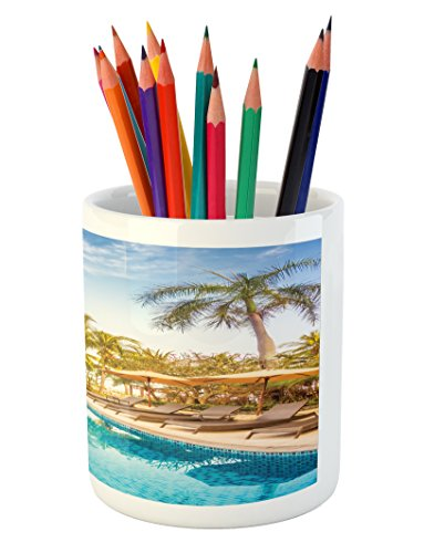 Ambesonne Landscape Pencil Pen Holder, Aerial View of A Pool in A Health Resort Spa Hotel with Exotic Sports Modern Photo, Printed Ceramic Pencil Pen Holder for Desk Office Accessory, Multi by Ambesonne (Image #2)