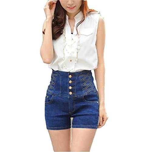 21eb45c0e7e07 Allonly Women s Fashion Slim Fit Stretch High Waisted Denim Jean Shorts Hot  Pants free shipping