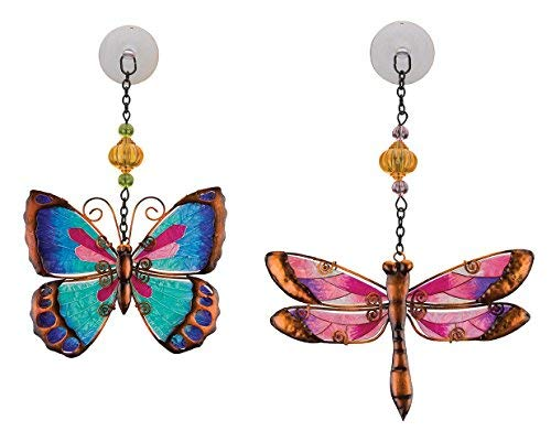 catchers for Home, Garden, Window and Wall Art (Pink Dragonfly & Green Butterfly) ()