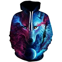 Colorful Starry sky wolf Hoodies For Women Men fashion Streetwear Clothing Hooded Sweatshirt 3d Print Hoody casual Pullover mm
