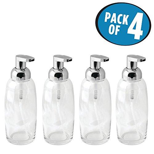 mDesign Modern Glass Refillable Foaming Soap Dispenser Pump