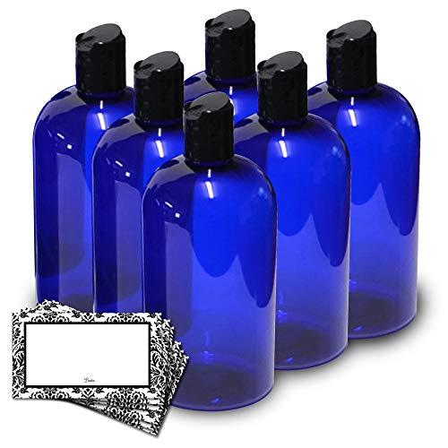 BAIRE BOTTLES - 8 OZ BLUE PLASTIC REFILLABLE BOTTLES with BLACK HAND-PRESS FLIP DISC CAPS - ORGANIZE Your Soap, Shampoo, Lotion, PET, Lightweight, BPA Free, 6 Pack, BONUS 6 DAMASK ()