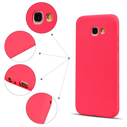 Funda Galaxy A7 2017 / A720 , SpiritSun Soft TPU Silicona Handy Candy Carcasa Funda para Samsung Galaxy A720 (5.7 Pulgadas) Suave Silicona Piel Carcasa Ultra Delgado y Ligero Goma Flexible Phone Case  Rojo