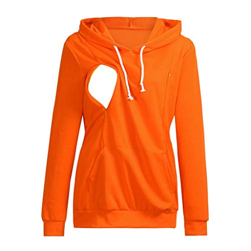 - Jchen Women Nursing Tops,Women's Nursing Maternity Long Sleeve Tops Breastfeeding Hoodie Sweatshirts (L, Orange)