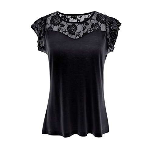 CreazyDog® Women Casual Solid Patchwork Lace Rose T-Shirt Tops Blouse (Black, L)
