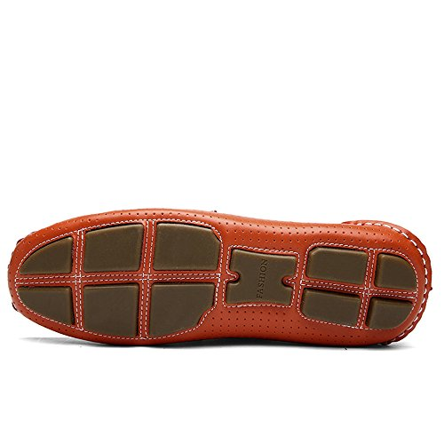 Hollow los Suave Penny Plana Slip Hombres Vamp Mocasines Suela de on Loafers Conducción Orange TnWH55