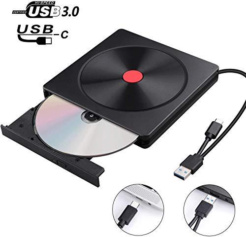 Lecteur DVD Externe, USB 3.0 & Type C, AMIGIK Graveur CD Externe, Enregistreur Portable - Transfert de Données à Grande Vitesse Compatible avec Ordinateur Portable Macbook PC Mac OS Windows Linux